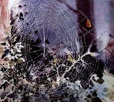 Tela de araña en un bosque Angeles, Tela, Painting Steps, Watercolor Painting, Dibujo, Artists, Woods, Angels