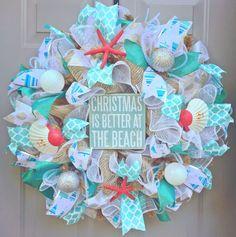 Christmas is Better at The Beach Burlap Deco Mesh Wreath with Sea Shells, Seashell Wreath, Beach Wreath, Starfish Wreath, Coastal Christmas