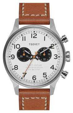 Men's TSOVET 'SVT-DE40' Chronograph Leather Strap Watch