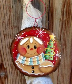 NEW 2018 - Holiday Tree Trimmer Gingerbread Ornament Merry Christmas Happy Holidays, Christmas Rock, Christmas Signs, Christmas Crafts, Christmas Decorations, Gingerbread Ornaments, Xmas Ornaments, Painted Ornaments, Ornaments Design