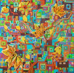 Autumn leaves 60x60 - materie diverse su catone telato