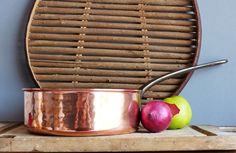 Copper & Tin Lined Saute Pan. French Vintage Copper Saucepan.Hand hammered…