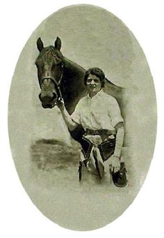 Champion bucking horse Midnight, with Miss Frontier Jean Nimmo Dubois, 1931