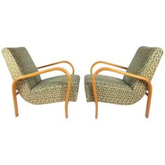 Pair of Jindrich Halabala Art Deco Armchairs in Original Good Original Condition | From a unique collection of antique and modern armchairs at https://www.1stdibs.com/furniture/seating/armchairs/