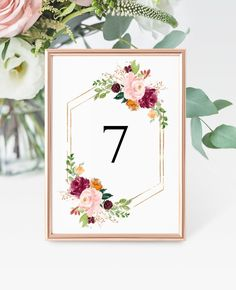 Boho Table Number Card Template, Printable Burgundy Floral and Gold Wedding Table Number, 100% Editable, Printable DIY Seating Card Template