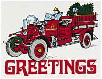 Greetings Fire Truck Christmas Cards