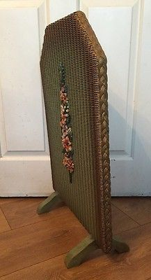 Vintage Lloyd Loom 1930's Art Deco Barbola Fire Screen Shabby Chic