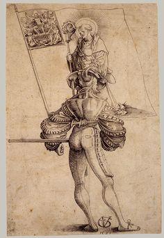 Urs Graf, A Mercenary Holding the Banner of the Canton Glarus, Swiss, 1521