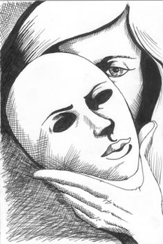 Untitled Mask Pen and Ink Drawing by Artist Mark Webster, painting by artist Mark Adam Webster