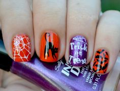 Halloween Nail Art using Bundle Monster's Holiday Stamping Plate Set