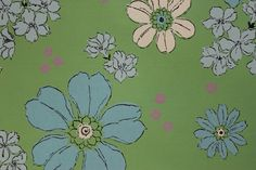 1960's Vintage Wallpaper Retro Blue and White by RosiesWallpaper