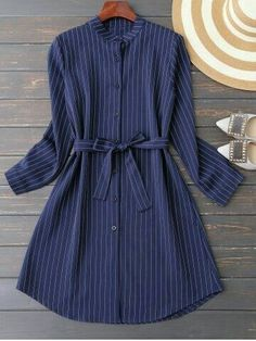 Mandarin Collar Striped Casual Dress Long Sleeve – idee per costumi da bagno Stylish Dresses For Girls, Simple Dresses, Stylish Outfits, Cute Dresses, Casual Dresses, Elegant Dresses, Sexy Dresses, Summer Dresses, Formal Dresses
