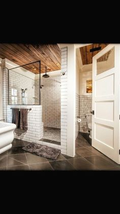 A walk-in shower creates a nice roomy feeling for your bathroom remodeling proje. A walk-in shower Shower Tile, Toilet Room, Basement Remodeling, Bathroom Makeover, Walk In Shower, Bathroom Interior, Modern Bathroom, Bathroom Renovations, Bathrooms Remodel
