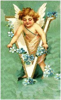 Victorian Angel Alphabet - Letter V Vintage Cards, Vintage Postcards, Vintage Images, Alphabet Cards, Alphabet And Numbers, Images Victoriennes, Vintage Illustration, Kobold, I Believe In Angels