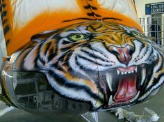 Tiger airbrushed onto a huye helicopter