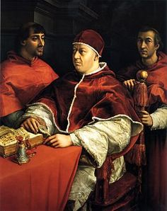 Pope Leo X (1475-1521) (Pope from 1513-1521) was the first of the four Medici popes.  Son of Lorenzo the Magnificent, he was a great patron of the arts including artists like Raphael and MIchelangelo.  His selling of indulgences led Martin Luther to post his 95 Thesis, sparking the Protestant Reformation.  This famous portrait with Caridnal Giulio de' Medici (later Pope Clement VII) in the background was painted by Raphael.