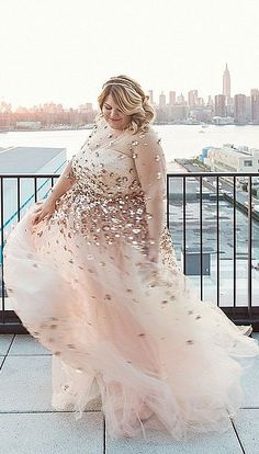 Plus Size Blogger Nicolette Mason's Custom Christian Siriano Wedding Gown Was Covered in Floral Appliqué.