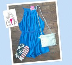 Another lovely option for 4th of July weekend 😎  Blue Romper $65 Havaianas Sandals $32 Hammitt Getty 2.5 $385 ☎️ 210-824-9988