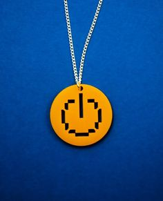 Necklace: Power Button Yellow