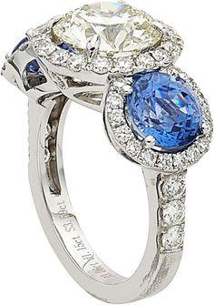 Diamond, Sapphire, White Gold Ring