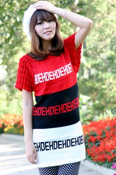 Women's Knitted Letters Pattern Sweater Red - BuyTrends.com