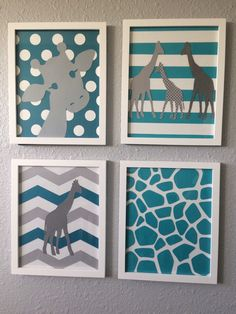 A personal favorite from my Etsy shop https://www.etsy.com/listing/255254968/giraffe-nursery-art-teal-grey-turquoise