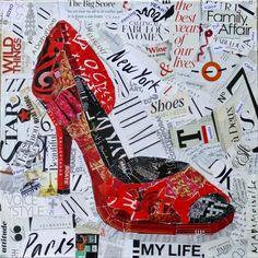 Nancy Standlee Fine Art: My Life: Yeah! Torn Paper Collage, High Heel Shoe by Texas Artist Nancy Standlee