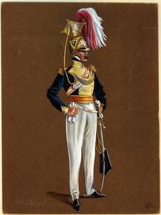 British; 19th Regiment of (Light) Dragoons (Lancers), Officer,1819 by G.H.Brennan. The regiment was disbanded in 1821