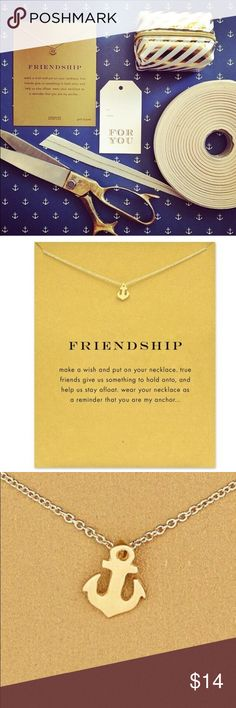 "⚓️ Friendship Anchor Pendant Necklace This Golden Threads gold anchor necklace on a delicate chain also includes a lovely gold card for your best friend with the the printed saying; ""make a wish and put on your necklace. True friends give us something to hold onto and help us stay afloat. Wear your necklace as a reminder that you are my anchor..."". The necklace has a 16"" with a 2.5"" extender for the perfect fit. Golden Threads Jewelry Necklaces"