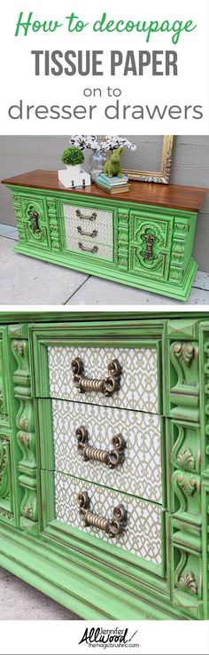 Tutorial on how to decoupage tissue paper on to dresser drawers. Check out this furniture makeover using a  bold green apple color and decoupaged tissued drawers. More Painting tips, color advice and DIY projects at theMagicBrushinc.com