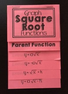 This foldable serves as the perfect introduction to graphing square root functions in an algebra 1 course.  I have included a tab for the parent function as well as 4 different examples, showing students what happens when you multiply, add or subtract.GREAT for interactive notebooks!his product is also included in The Ultimate Foldable Bundle for 8th Grade Math, Pre-Algebra, and Algebra 1!