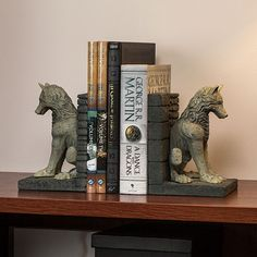 ThinkGeek :: Game of Thrones Stark Direwolf Bookends Not want....need!