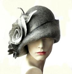 Grey Felted Hat felt hat Cloche Hat Flapper 1920 Hat Art