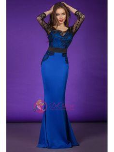 Rochie din material elastic albastru cu dantela neagra aplicata Gowns Of Elegance, Prom Dresses, Formal Dresses, Mermaid, Womens Fashion, Skirts, Tight Skirt Outfit, Party Dresses, Women