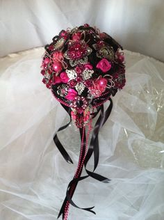 Hot pink black brooch bouquet by KwirkyKreations on Etsy, $50.00