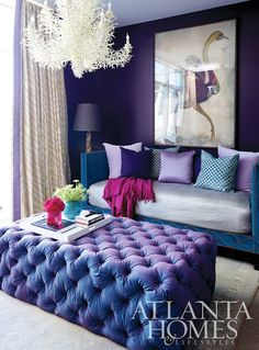 Purple living room. #Home #Decor #Interior
