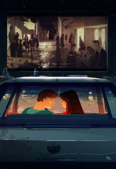 Drive In Movie ~ by Pascal Campion Amazing Drawings, Amazing Art, Pascal Campion, Love Illustration, Pixel, Whimsical Art, American Artists, Anime Art, Christ