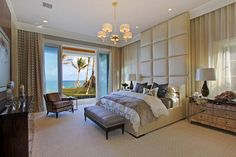 South Ocean Blvd. master bedroom, Palm Beach. Claremont Companies.
