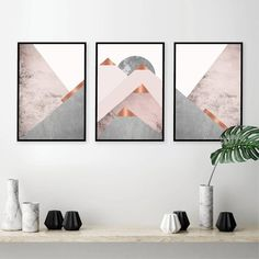 Set of 3 Mountains Posters and Prints Blush Pink Grey Wall Art Abstract Canvas Painting Scandinavian Modern Poster Wall Decor Gold Wall, Silver Wall Decor, Wall Art Decor, Copper Wall Art, Grey Wall Art, Modern Wall Art, Grey Art, Modern Decor, Modern Design