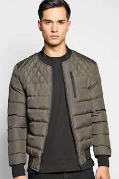 boohoo All Over Quilted Bomber Jacket With Chest Zip
