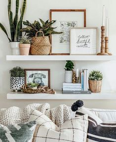 Explore farmhouse style shelf decor ideas for your bedroom, living room, and kitchen walls. Learn what to use and how to arrange shelf decor pieces. Cheap Home Decor, Diy Home Decor, Decor Crafts, Diy Crafts, White Floating Shelves, Floating Shelf Decor, Floating Shelves Bedroom, Wall Shelf Decor, Shelving Decor