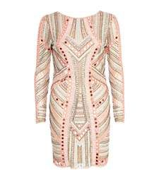 Pink mirror embellished bodycon dress $160.00