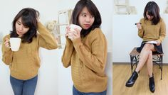 Chunky Cable Knit Sweater#autumn#outfit#Japan