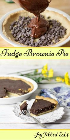 If you love brownies you need to go make this. The contrast between pie crust & filling in this Fudge Brownie Pie is perfection. Low Carb, Sugar/Grain Free, THM S. via /joyfilledeats/
