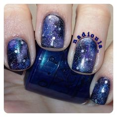 Galaxy nails. Polishes used: Jessica Moon Bean, Jessica Opal, OPI Swimsuit...Nailed It!, OPI Funky Dunkey, OPI Pirouette My Whistle, Orly Out Of This World, and China Glaze Fairy Dust.