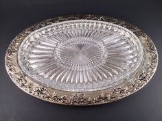 Silver Plated Oval Serving Platter with Grape Clusters  Godinger Silver   by SamsOldiesButGoodies on Etsy