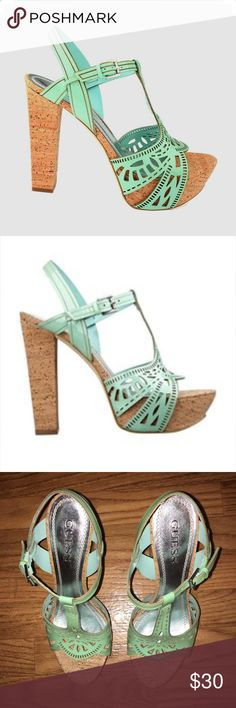 """Guess Cutout Green Platform Sandals Cork Heel  8.5 Patent Leather  Synthetic sole Cork Heel measures approximately 5"""" Cork Platform measures approximately 1.25"""" Style: Ankle Strap Closure Type: Buckle Heel Height: 5 Heel Type: Block                                                  This Shoe Fits True To Size. Guess Shoes Sandals"""