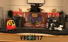 Thanks to Hero Marilyn Crosby‎ for this fun looking set. Love the addition of the vehicles to the stage area.   Man Church of the Nazarene Hero Central VBS in Man, West Virginia.