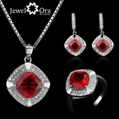 Party Jewelry Sets Red Cubic Zirconia