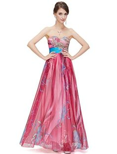 Ever Pretty Floral Printed Sequins Strapless Empire Line Long Evening Dress 09820 HE09820HP14 Hot Pink US12 *** Details can be found by clicking on the image.
